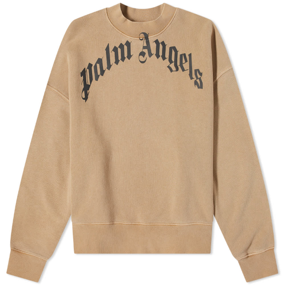 Palm Angels Garment Dyed Curved Logo Crew Sweat - Beige & Black