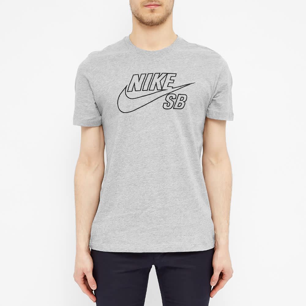 Nike SB Outline Logo Tee - Dark Grey Heather & Black