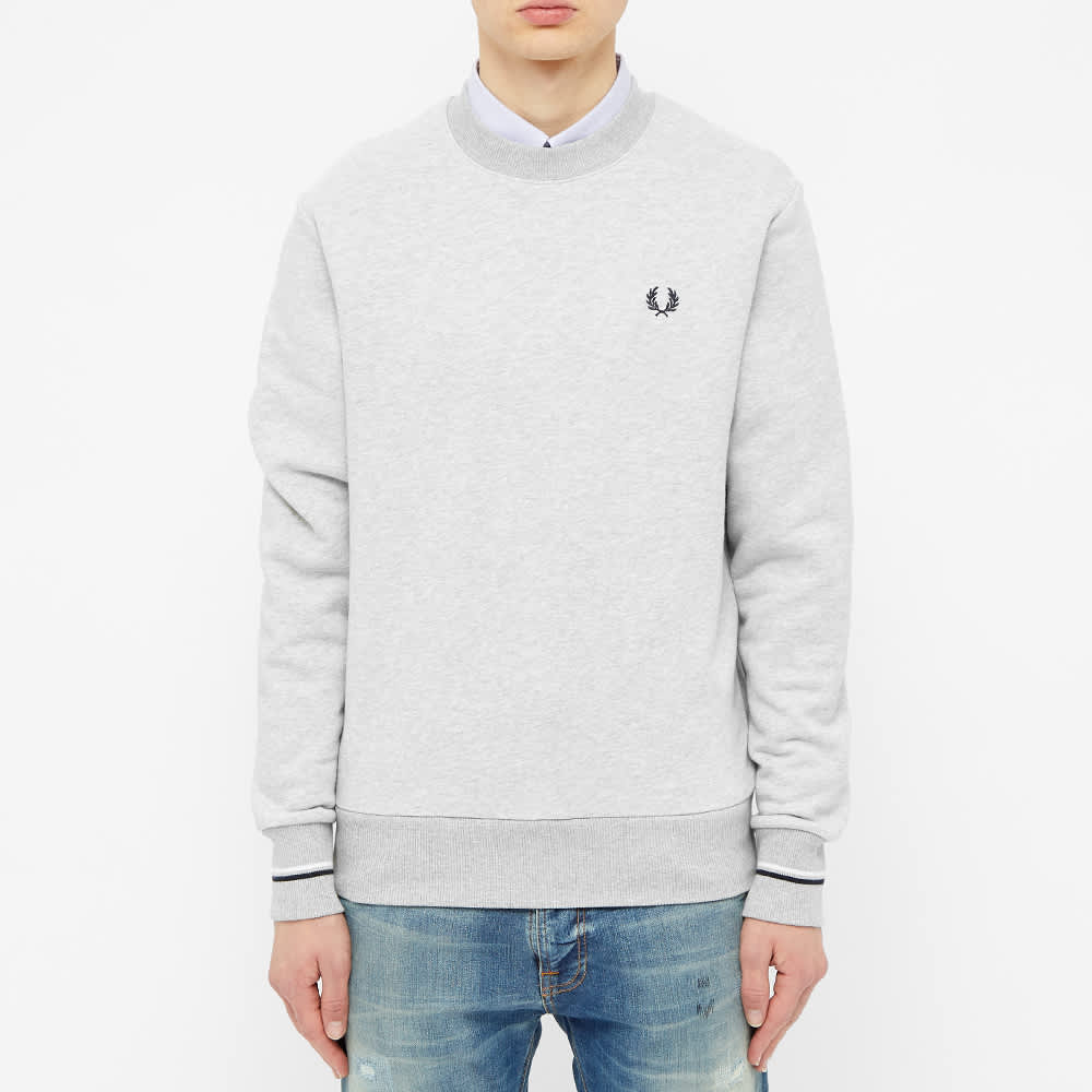 Fred Perry Tipped Cuff Crew Sweat - Marl Grey
