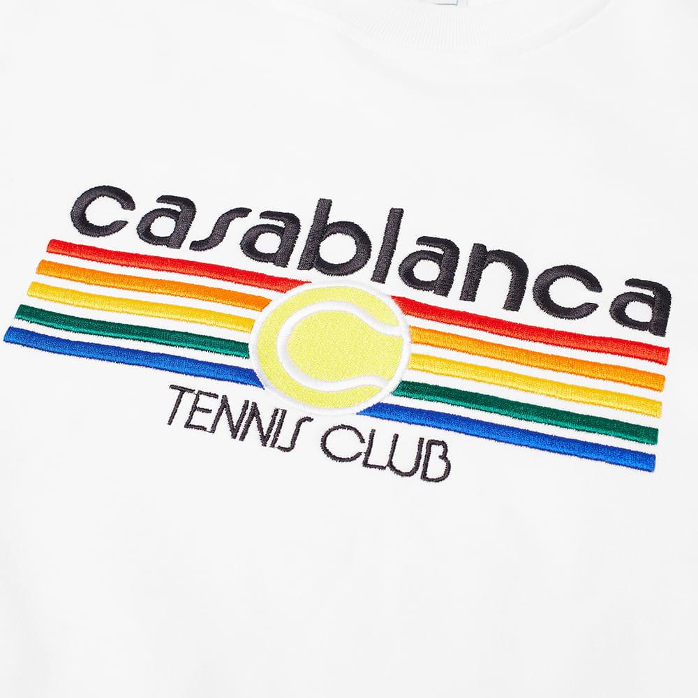 Casablanca Vintage Tennis Stripe Crew Sweat - White