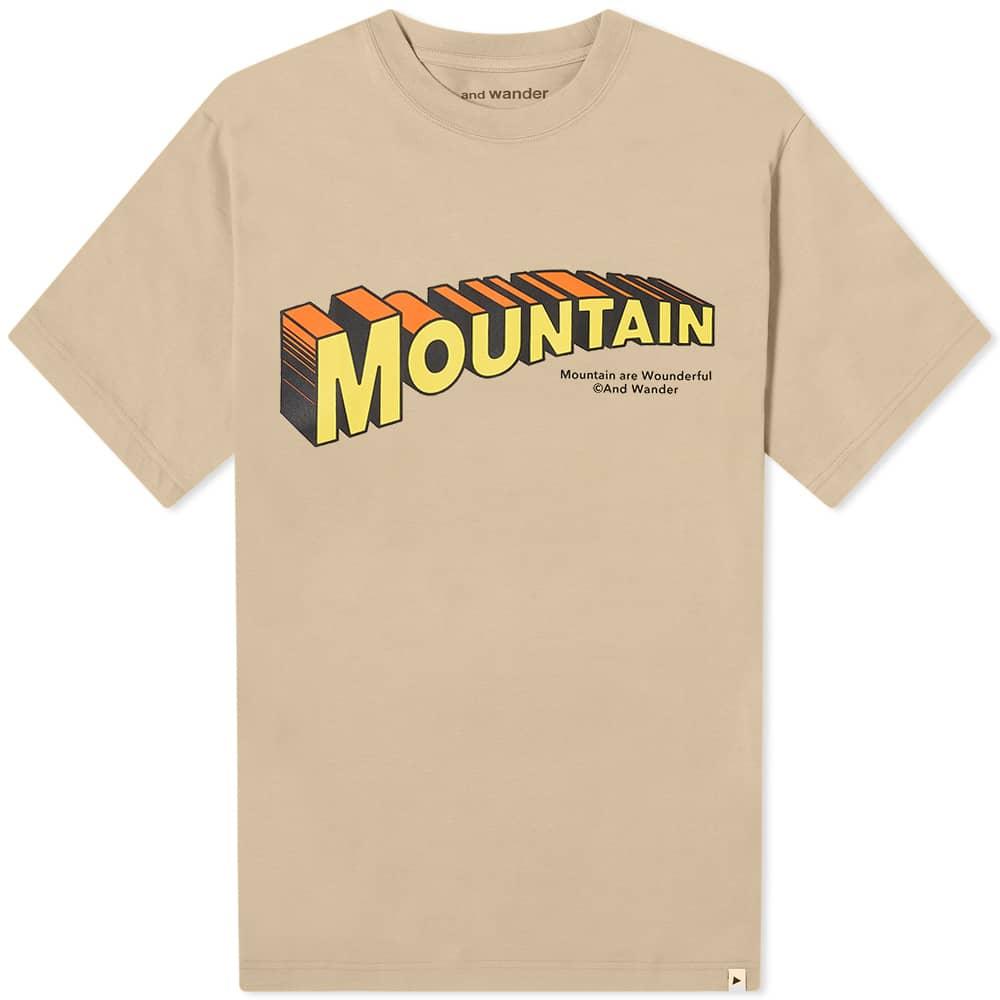and wander x Jerry Ukai Mountain Tee - Beige