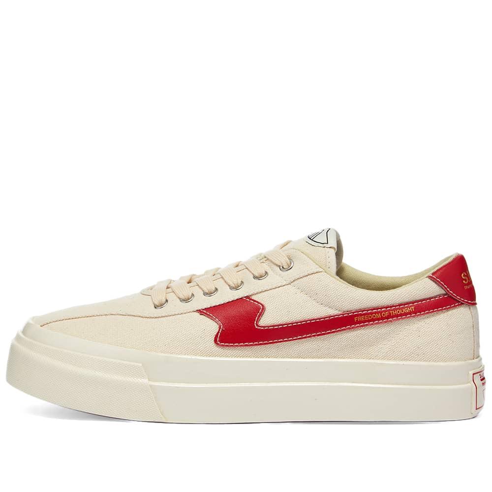 Stepney Workers Club Dellow S-Strike Canvas Sneaker - Ecru & Red