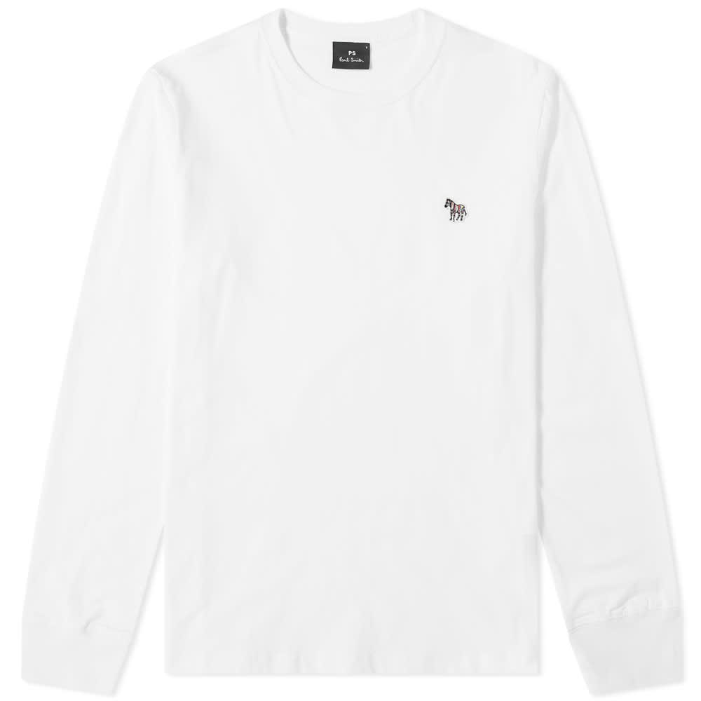 Paul Smith Long Sleeve Zebra Logo Tee - White