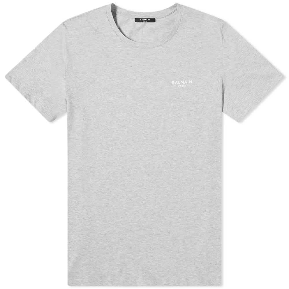 Balmain Eco Small Logo Printed Tee - Grey & White