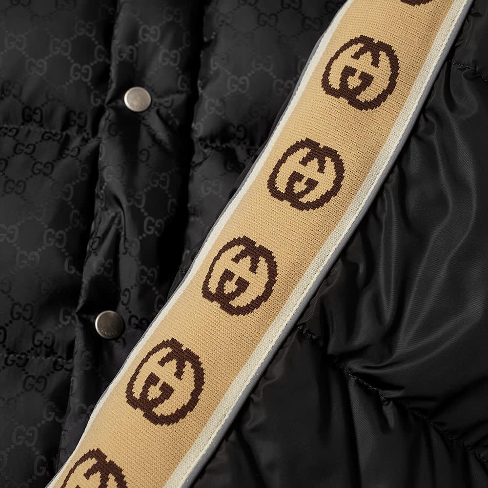Gucci GG Jacquard Taped Sleeve Logo Down Jacket - Black