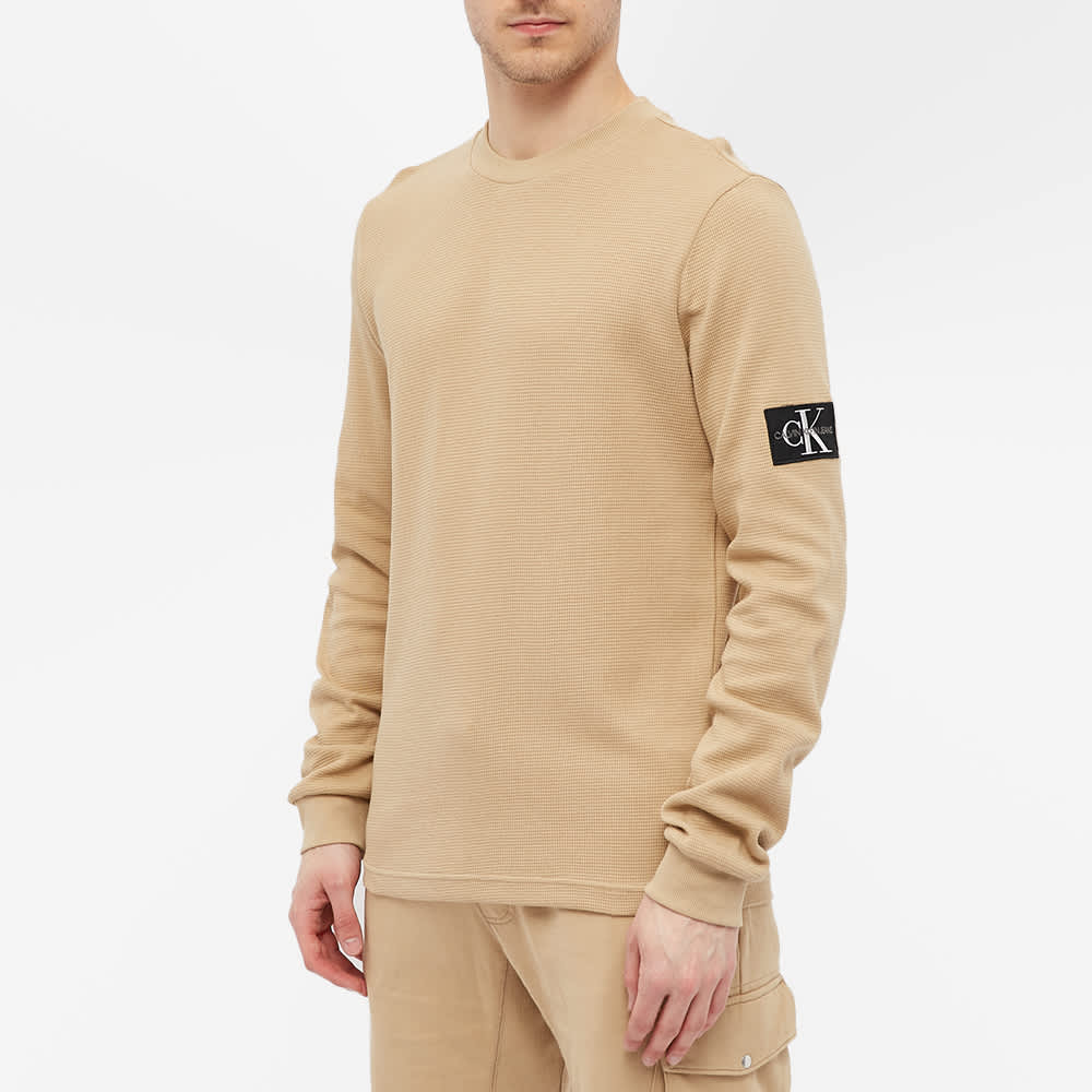 Calvin Klein Long Sleeve Monogram Badge Tee - Travertine