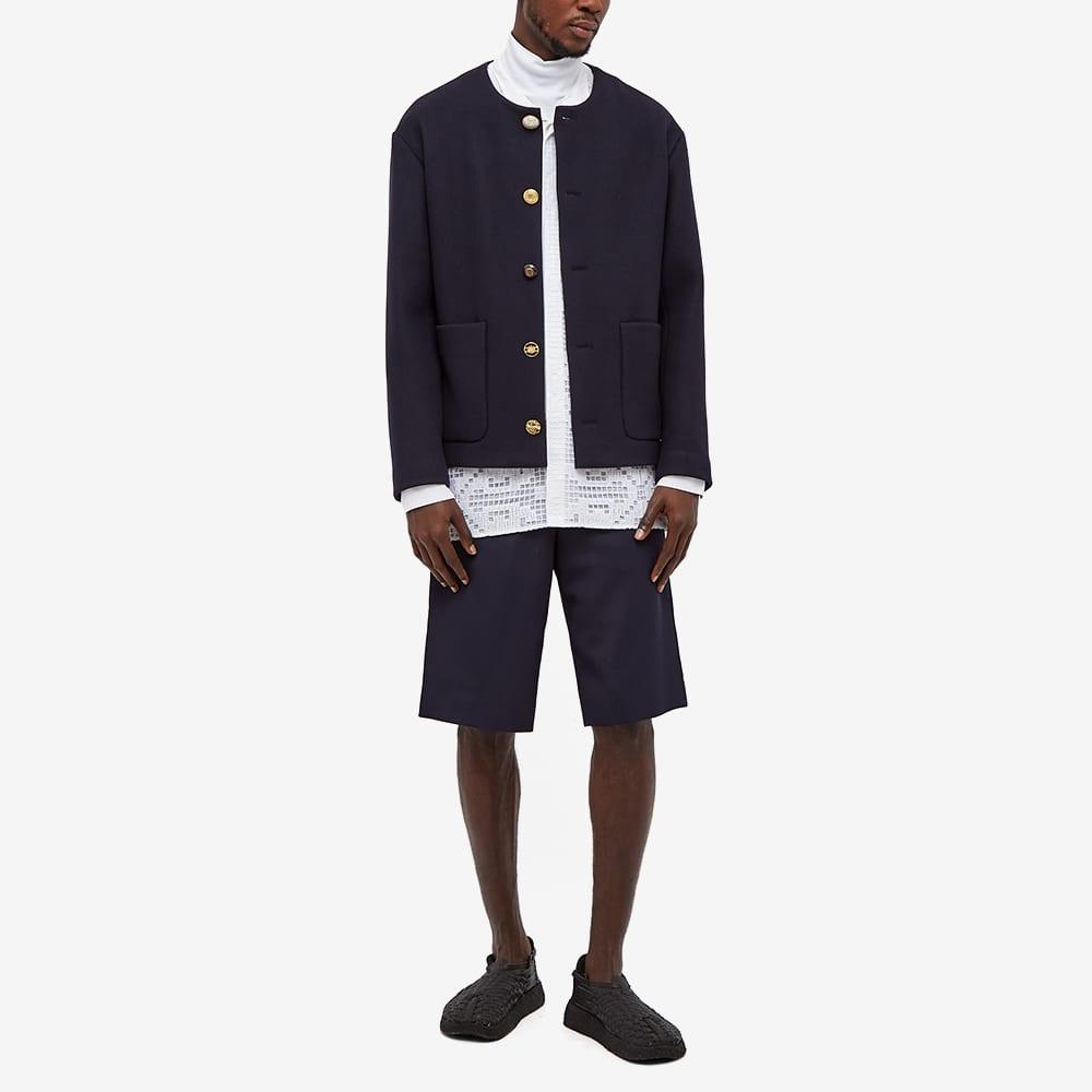 4SDesigns Mixed Button Cardigan Coat - Navy Cashmere Melton