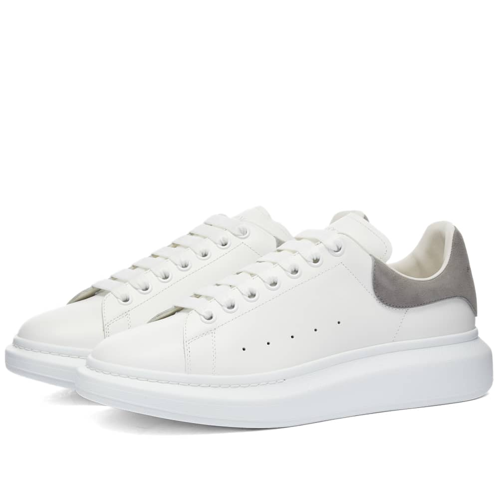 Alexander McQueen Heel Tab Wedge Sole Sneaker - White & Iron