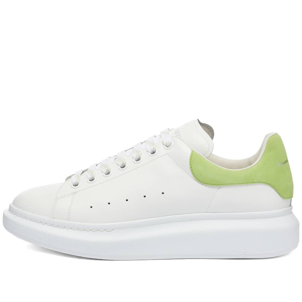 Alexander McQueen Heel Tab Wedge Sole Sneaker - White & New Acid Green