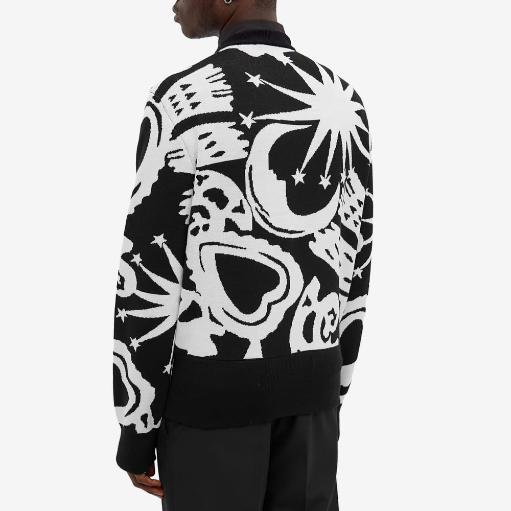 Alexander McQueen Skull All Over Intarsia Crew Knit - Black & Ivory