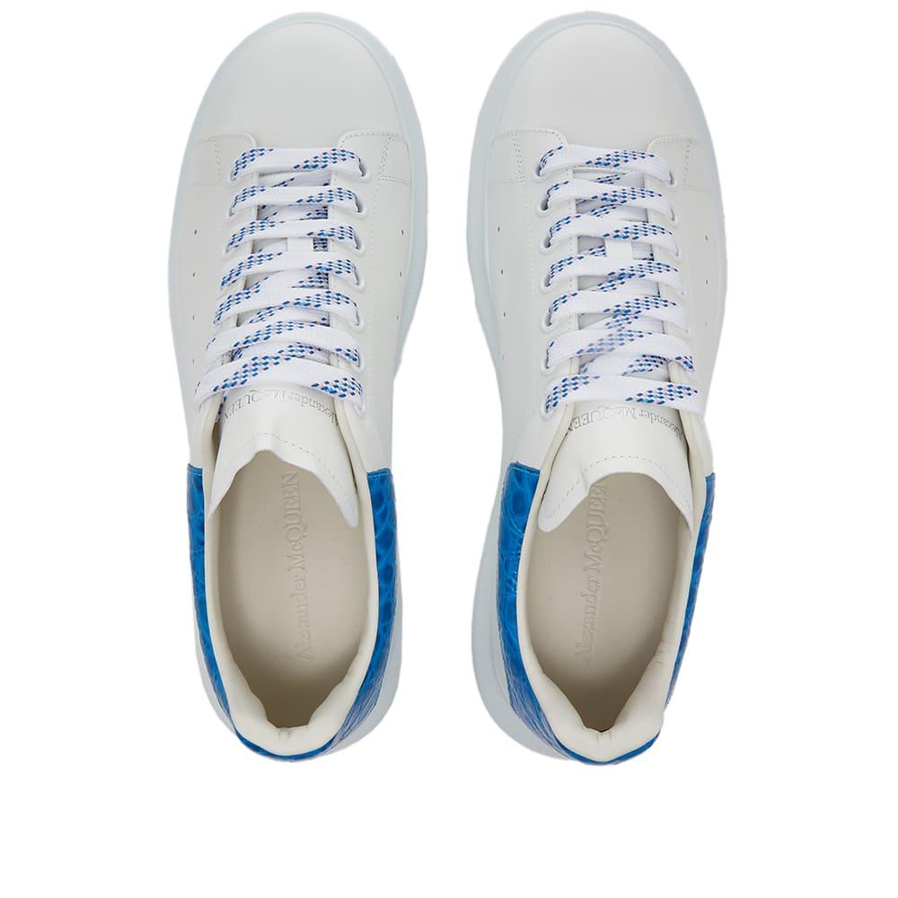 Alexander McQueen Croc Heel Tab Wedge Sole Sneaker - White & Ultramarine