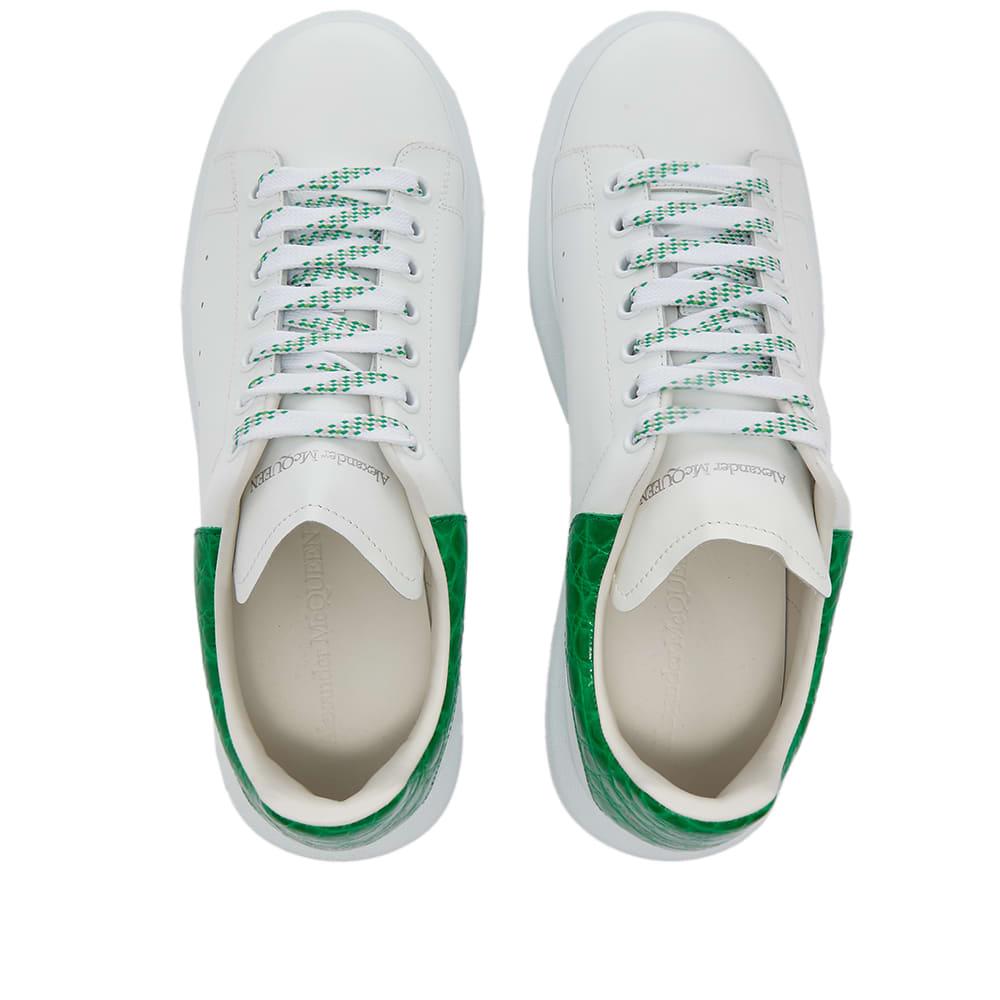 Alexander McQueen Croc Heel Tab Wedge Sole Sneaker - White & Chrome Green