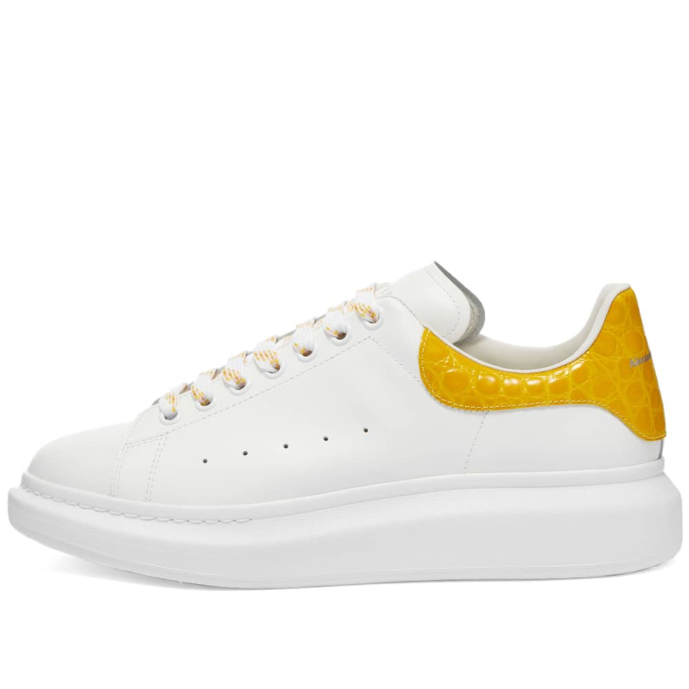 Alexander McQueen Croc Heel Tab Wedge Sole Sneaker - White & Pop Yellow