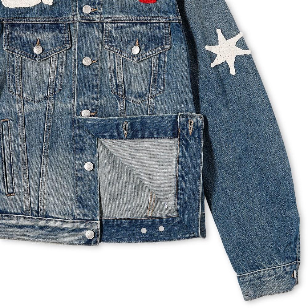 Alexander McQueen Crochet Patch Denim Jacket - Blue Washed