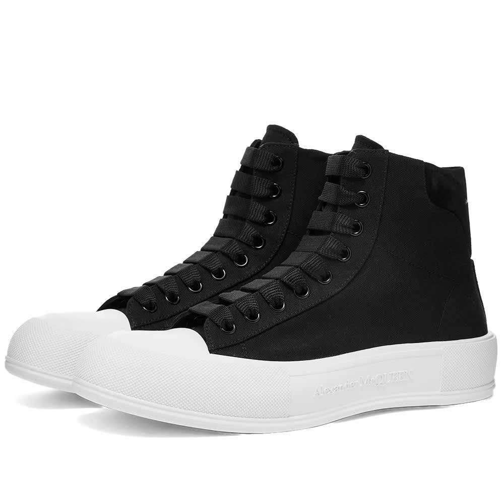 Alexander McQueen Canvas High Top Sneaker - Black & White