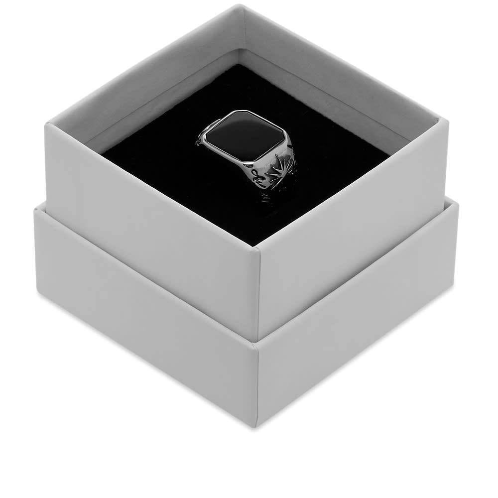Alexander McQueen Stone Signet Ring - Silver & Black