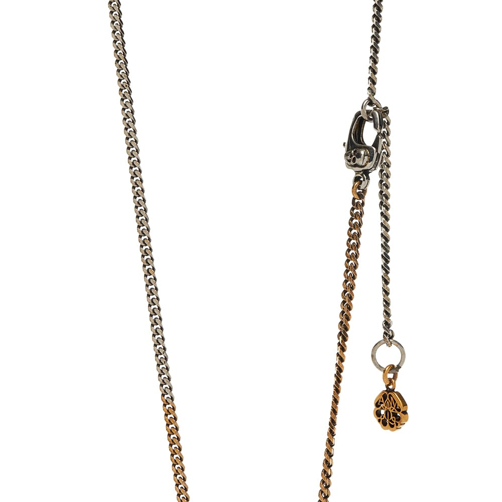 Alexander McQueen Skull Tag Necklace - Silver & Gold