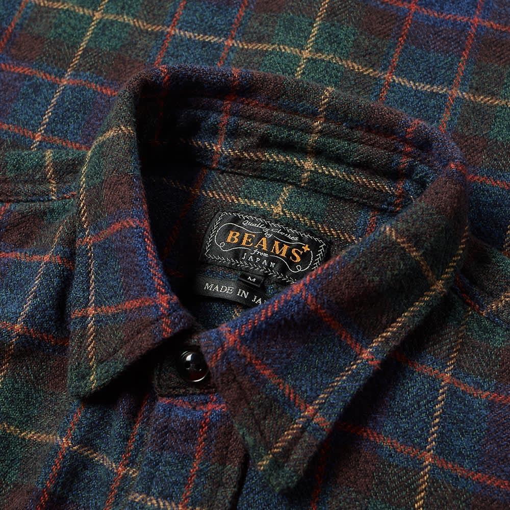 Beams Plus Tweed Check Guide Shirt - Green