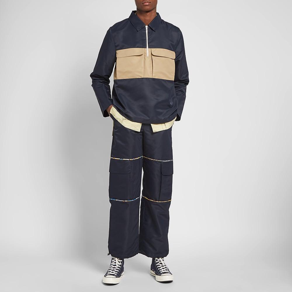 Paria Farzaneh Panel Half Zip Shirt - Navy & Beige