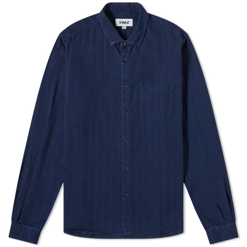 YMC Dean Shirt - Indigo Herringbone
