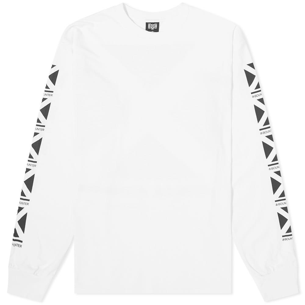 Bounty Hunter Long Sleeve Square Logo Tee - White