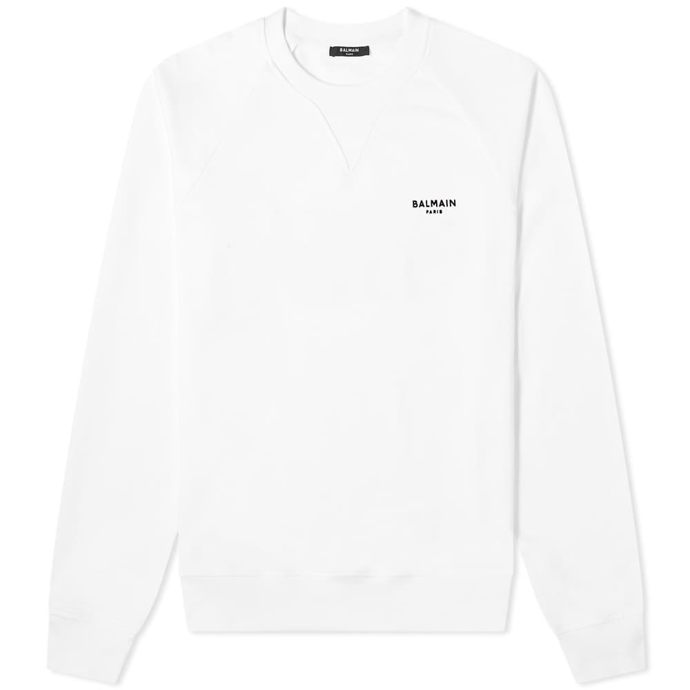 Balmain Eco Small Logo Printed Crew Sweat - White & Black