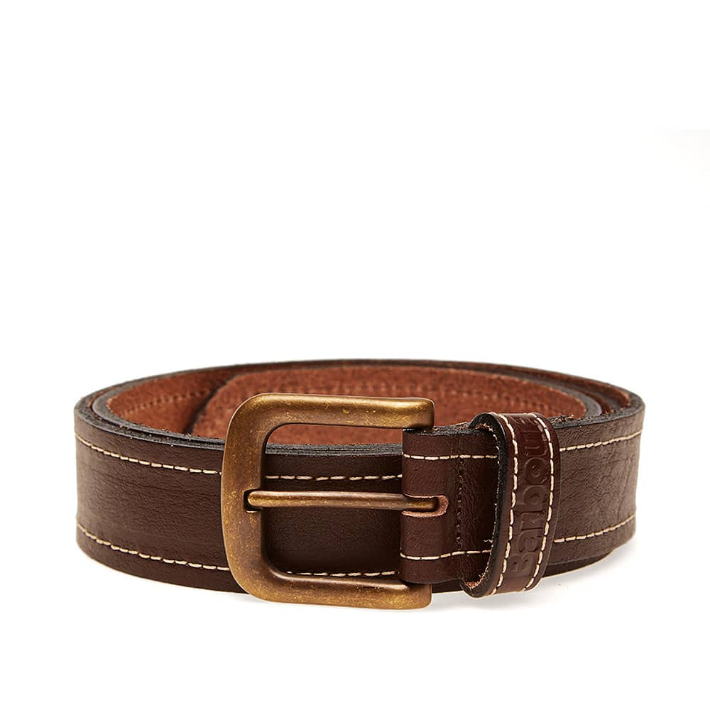 Barbour Stitched Leather Belt - Brown