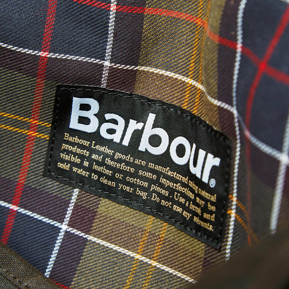 Barbour Wax Leather Tarras Bag - Olive
