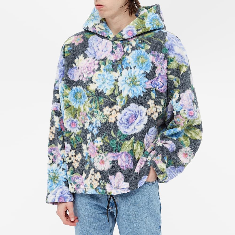 Martine Rose Floral Fleece Popover Hoody - Black, Purple & Blue