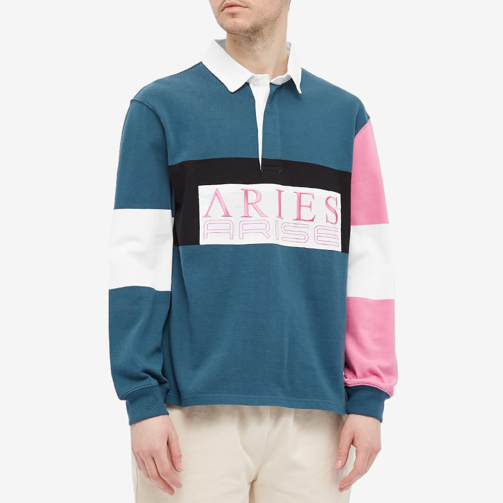 Aries Colour-Blocked Rugby Shirt - Petrol