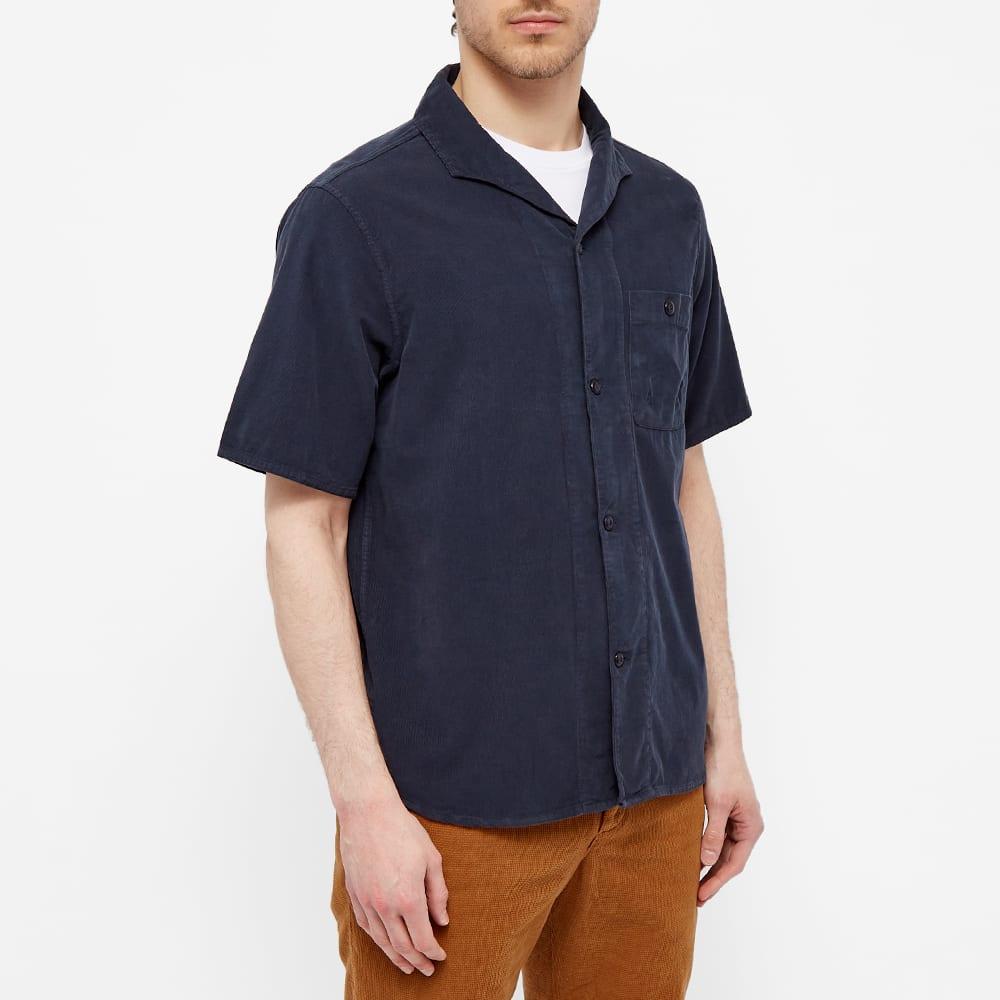 Albam Short Sleeve Miles Cord Camp Collar Shirt - Navy