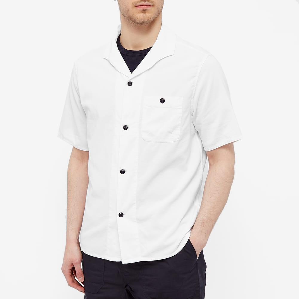 Albam Short Sleeve Miles Cord Camp Collar Shirt - White