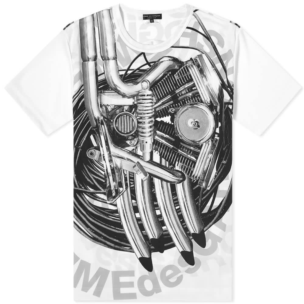 Comme des Garcons Homme Plus Machine Print Logo Tee - White & Black
