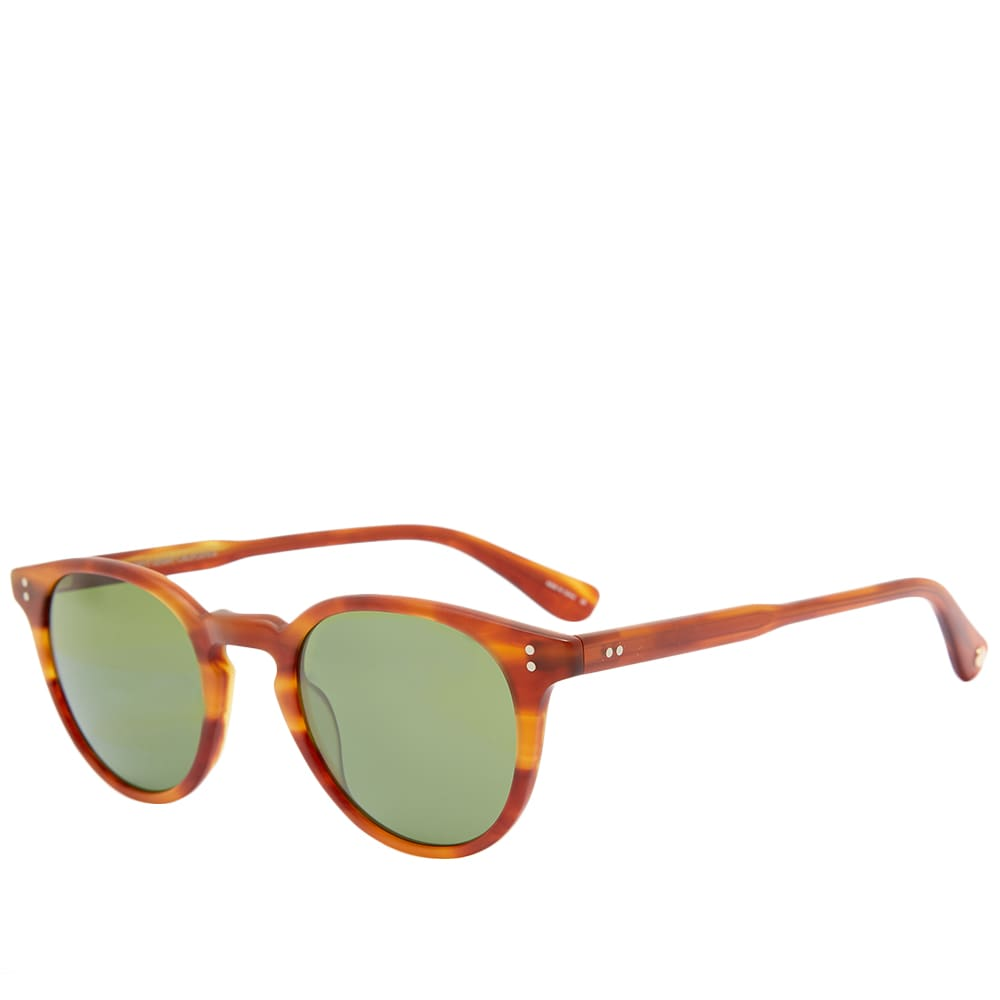 Garrett Leight Clement 46 Sunglasses - Matt Honey Amber & Pure Green