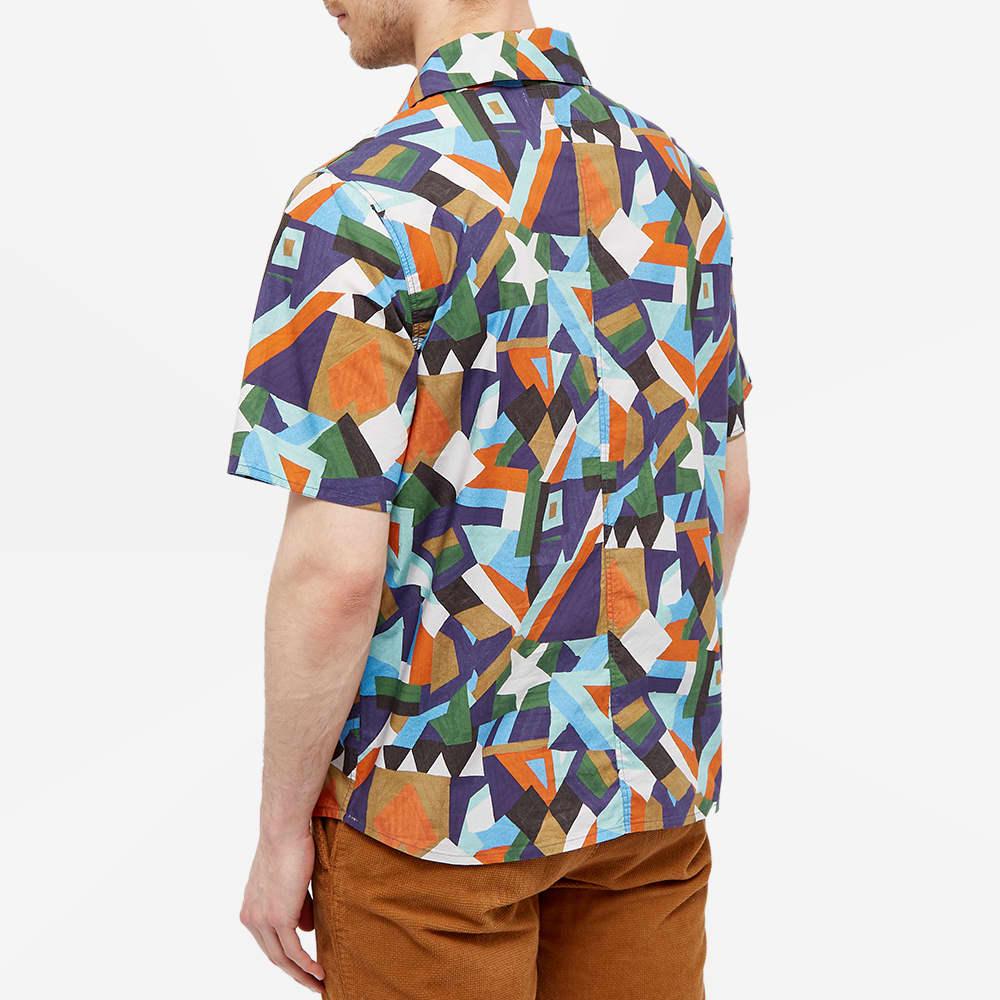 Albam Short Sleeve Miles Patchwork Printed Camp Collar Shirt - Bold Aerial Print