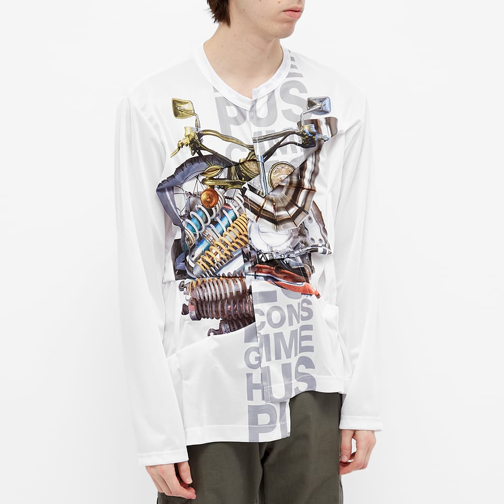 Comme des Garcons Homme Plus Cut Ad Sew Longsleeve Patchwork Tee - White & Multi