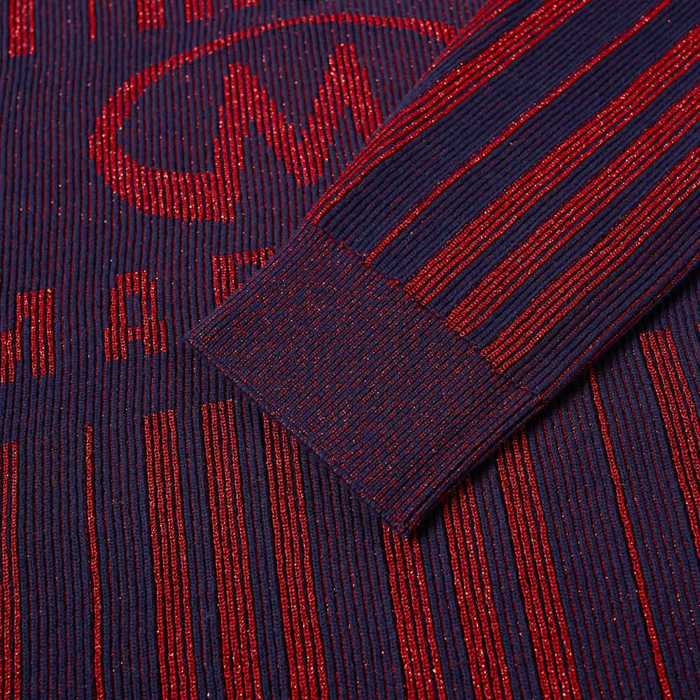 Martine Rose Stripe Logo Half Zip Knit - Blue & Haute Red