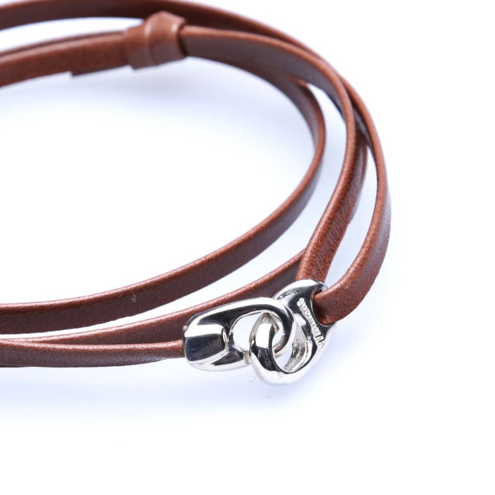 Miansai Bind Leather Silver Bracelet - Brown