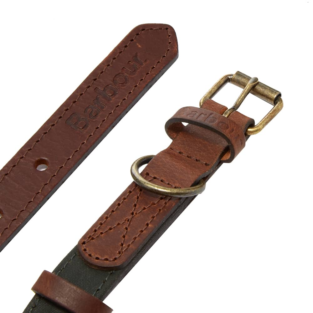 Barbour Wax & Leather Dog Collar - Olive