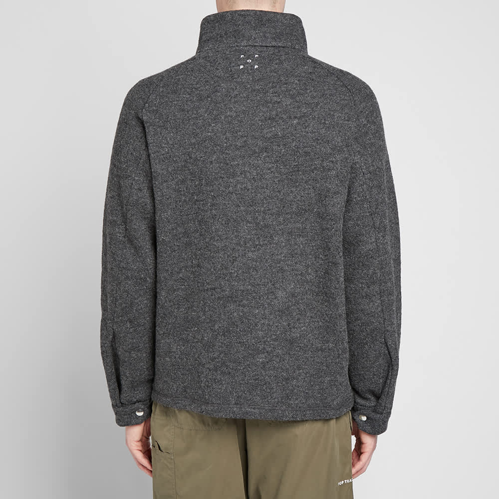 Pop Trading Company DRS Half Zip Jacket - Anthracite Boiled Wool