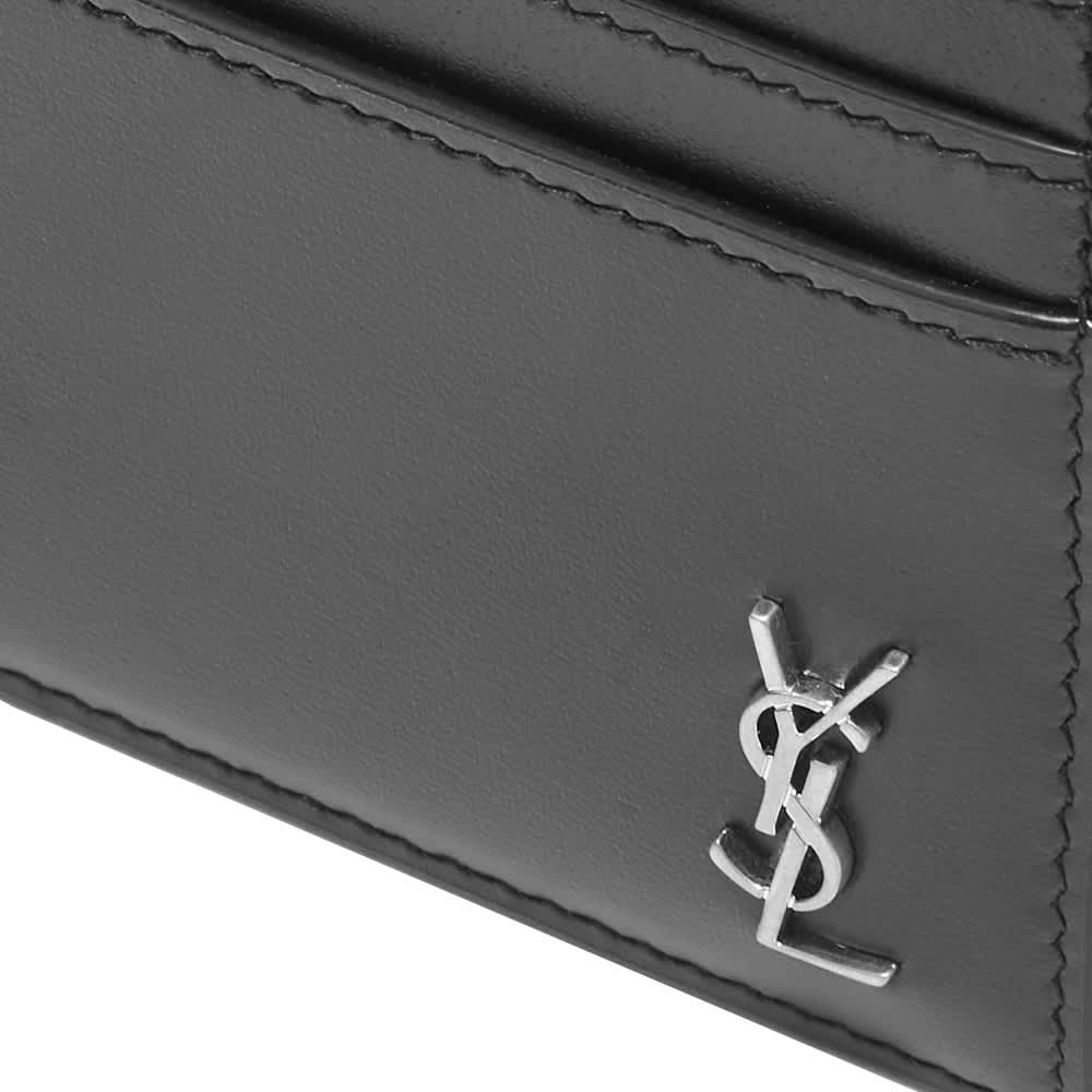 Saint Laurent Tiny Monogram Card Holder - Black & Silver