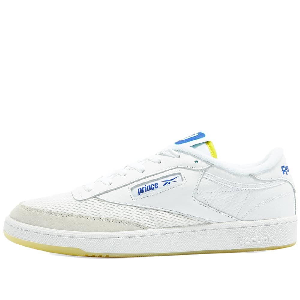 Reebok x Prince Club C 85 - White, Yellow & Bright Cobalt