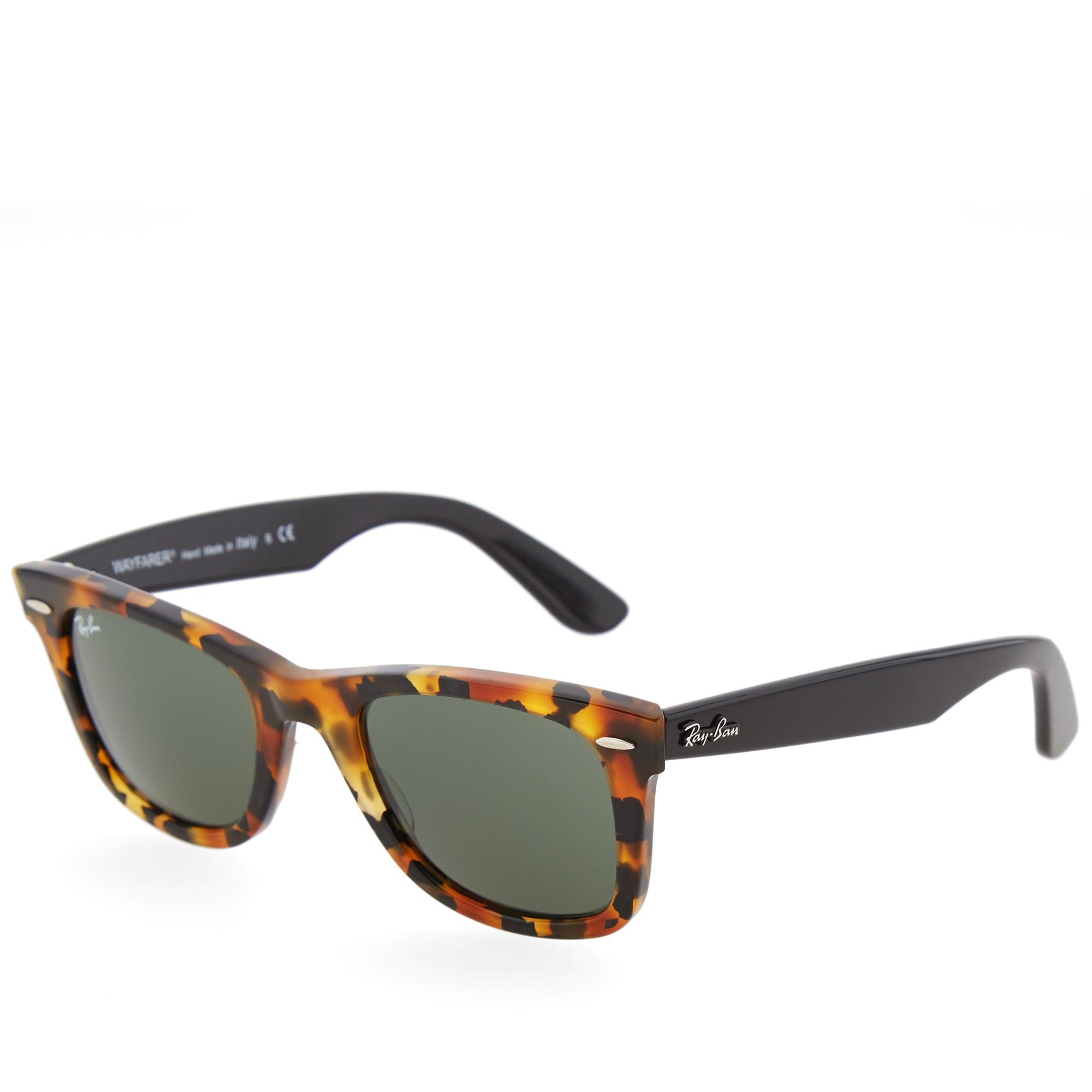 Ray Ban Original Wayfarer Fleck Sunglasses - Spotted Black Havana & Green