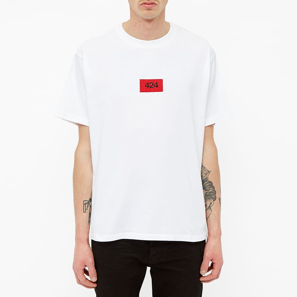 424 Box Logo Embroidered Essential Tee - White