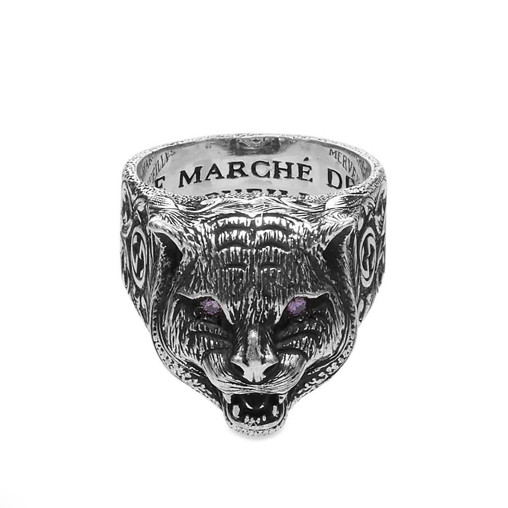 Gucci Garden Feline Head Ring - Aged Sterling Silver