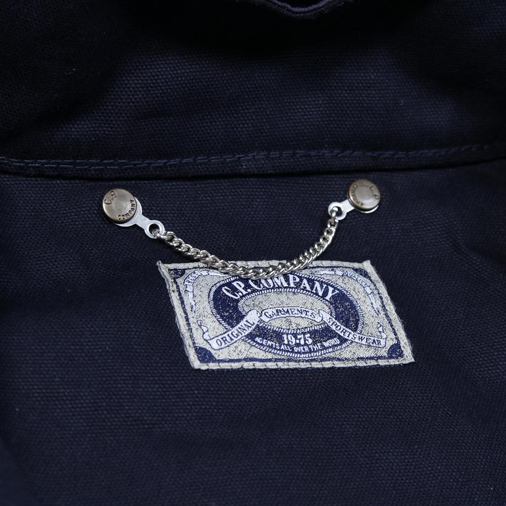 C.P. Company Waxed Cotton & Leather Goggle Jacket - Dark Navy