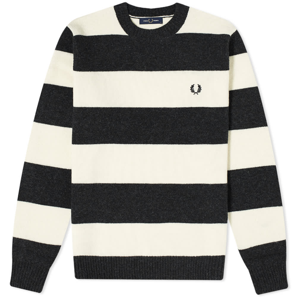 Fred Perry Bold Stripe Crew Knit - Black