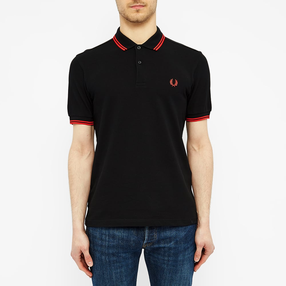 Fred Perry Slim Fit Twin Tipped Polo - Black & Red