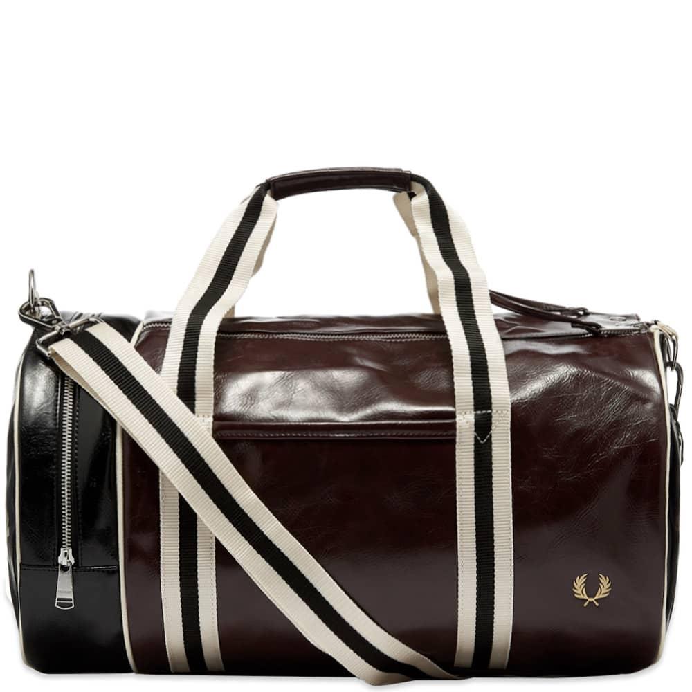 Fred Perry Colour Block Barrel Bag - Port & Black
