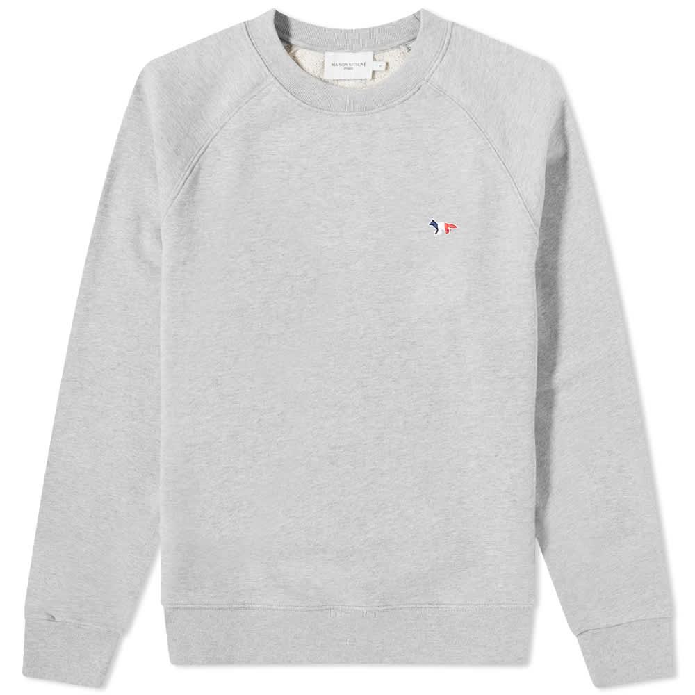 Maison Kitsuné Tricolor Fox Patch Clean Sweat - Grey Melange